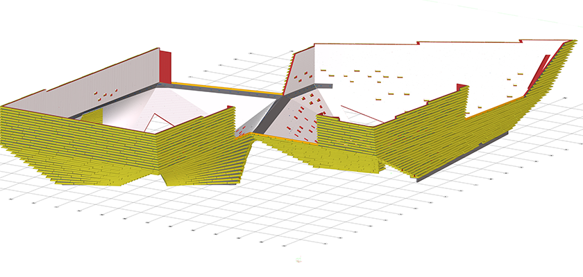 Tekla Structures model of twisting concrete walls with precast rough stone panels forming the façade