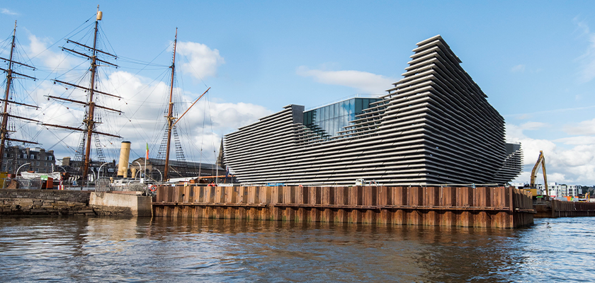 V&A Dundee on the banks of the River Tay, museum sits next to R.S.S. Discovery