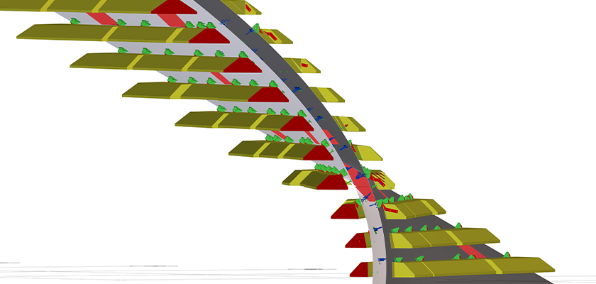 Model showing complex twisted wall geometry with bracket details and planks