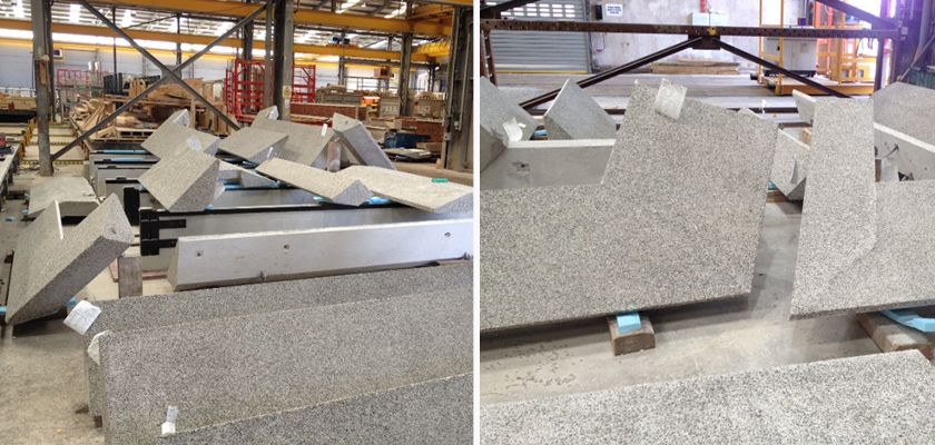 Concrete planks in the workshop, the concrete chosen for this project was made with a grey granite aggregate and sand