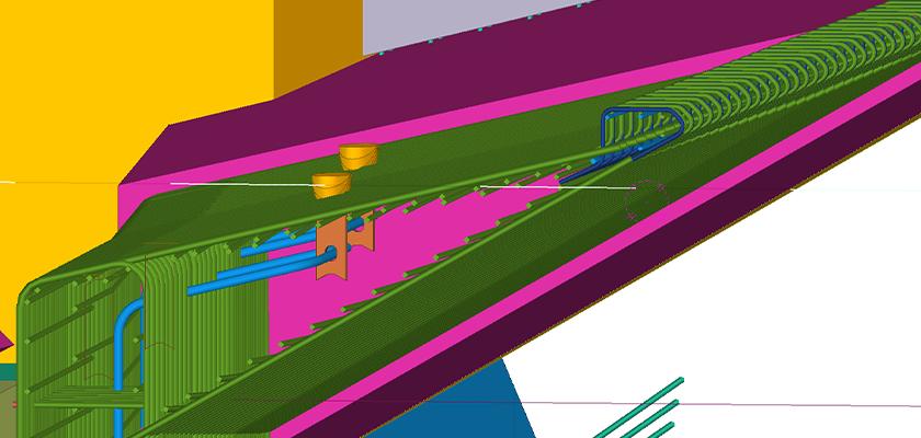 Close-up of Tekla Structures concrete reinforcement detail