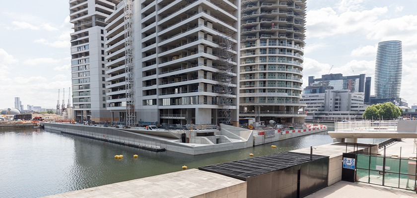 Nearing completion of East Abutment, a semi-submerged concrete structure