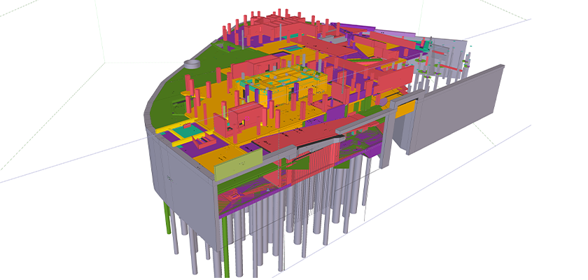 3D BIM model of buildings three-story basement at One Nine Elms