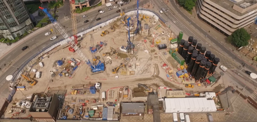View from above of construction site at One Nine Elms