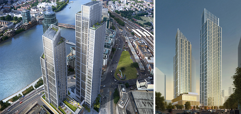 Artists impression of One Nine Elms when completed shows two tall towers with slanted roofs