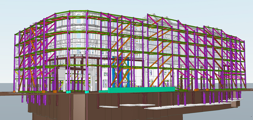 Tekla Structural Designer front view of Façade model