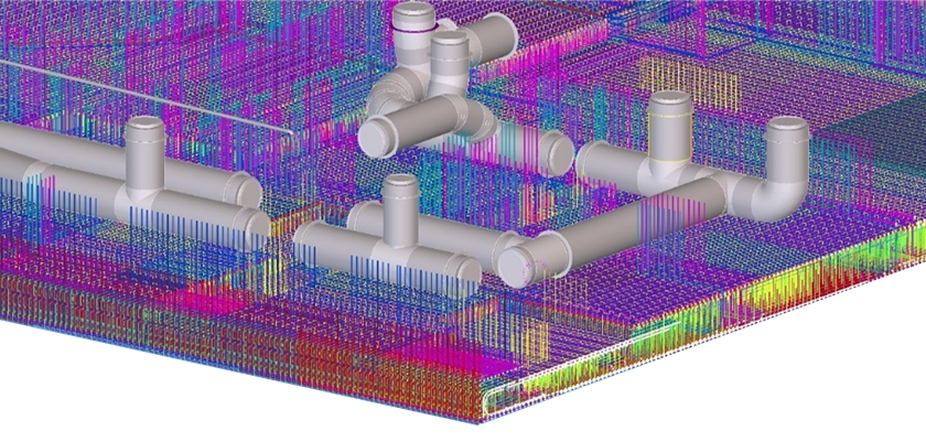 BIM model showing complicated rebar and a series of underground tunnels weaved between the rebar connecting the structures