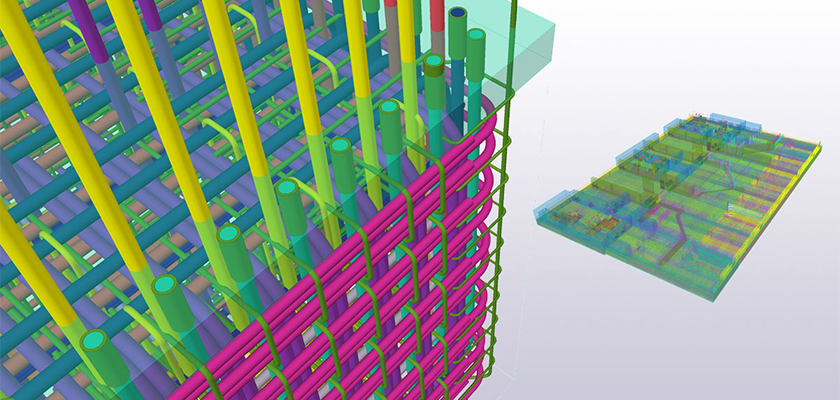 3d BIM model of Hinkley Point C showing large of complex rebar with a close-up of rebar to the left