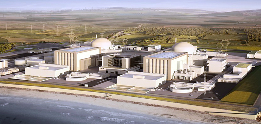 Artists impression of Hinkley Point C shows two large central concrete buildings with domed containment buildings to the rear