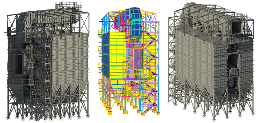 Two rendered views showing the back and front of fabric filter with the 3D BIM model in between