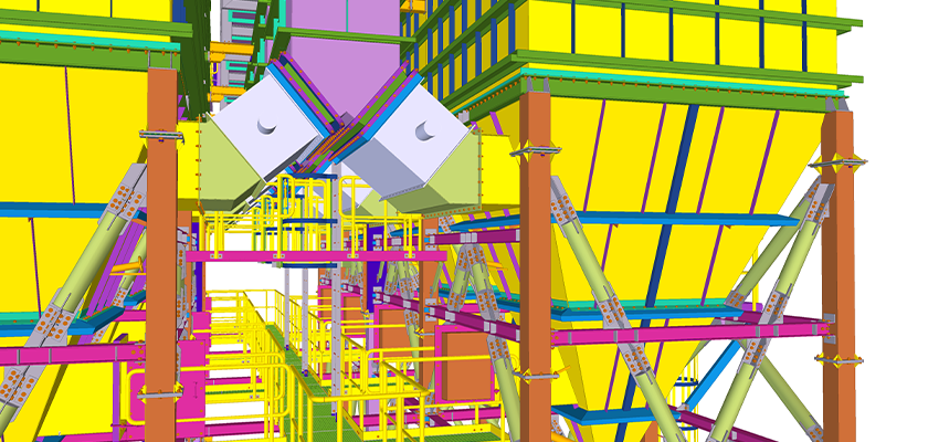 3D BIM model of access platform running between hopper units with inlet ducts and dampers above