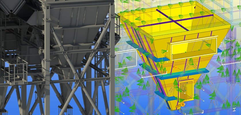 Hopper unit modelled in Tekla Structures