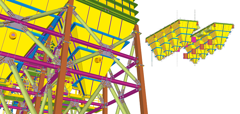 Tekla Structures model of two rows of four interconnected hopper units with a close-up of hopper unit