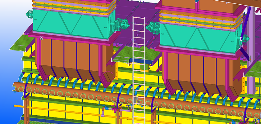 Clip plane through Tekla Structures model of filter system to show the damper reference models