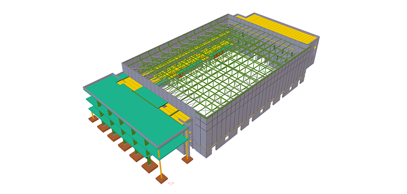 3D model of precast building with no roof, steel rafter and purlins are visible