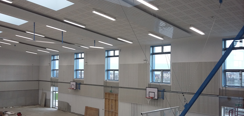 View of precast sports hall from inside