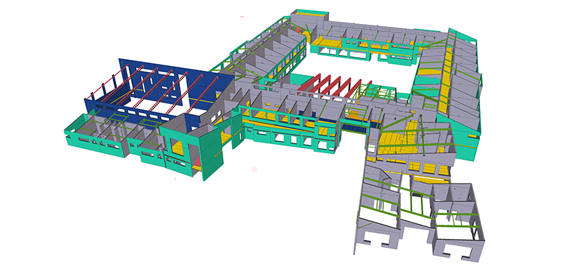 Tekla Structures precast model of school viewed from above. Main cloister with buildings to two sides