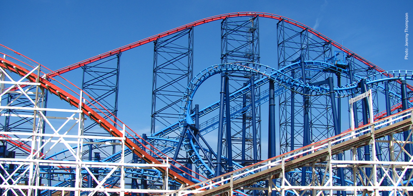 Sunny view of roller coasters at Blackpool Pleasure Beach