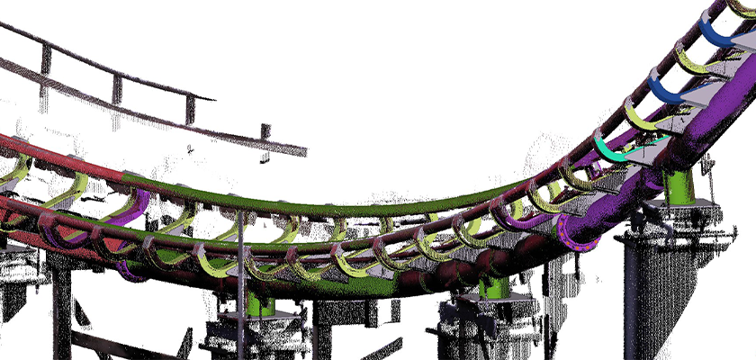 Point cloud survey of a section of roller coaster track