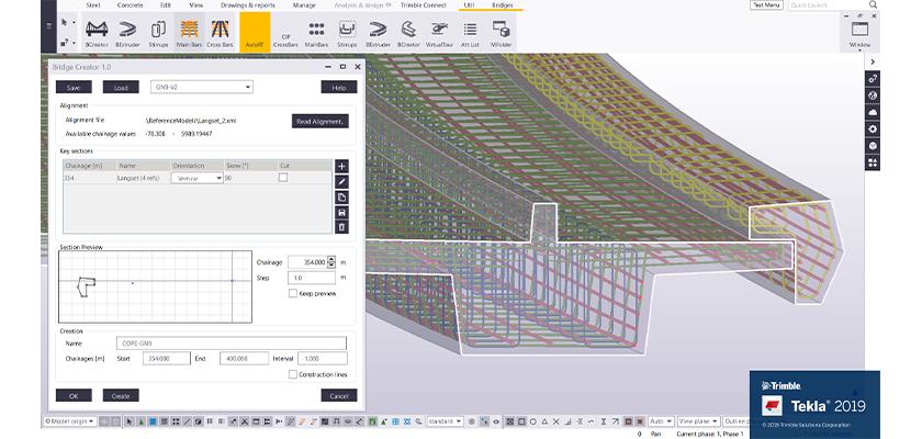 Tekla Structures Bridge Creator tool showing section of bridge deck rebar