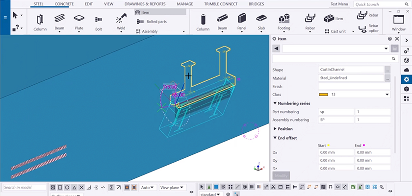 Tekla Structures screenshot showing imported concrete embed being rotated