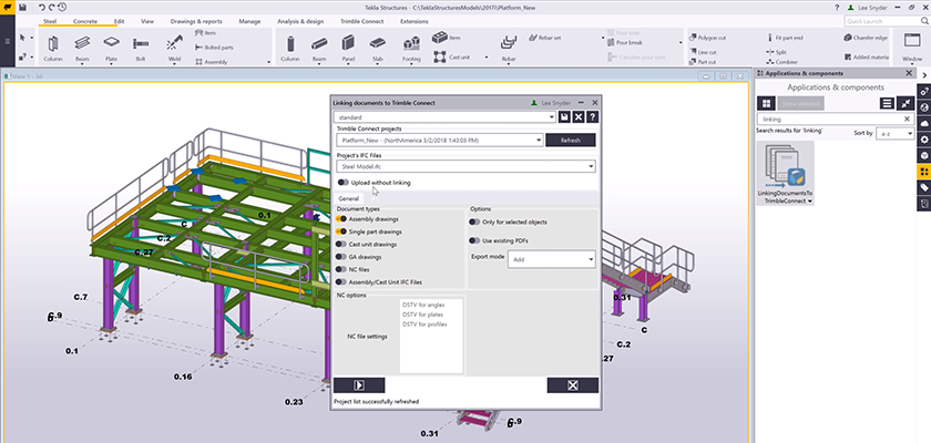Linking documents to Trimble Connect dialog open in Tekla Structures with steel model in background