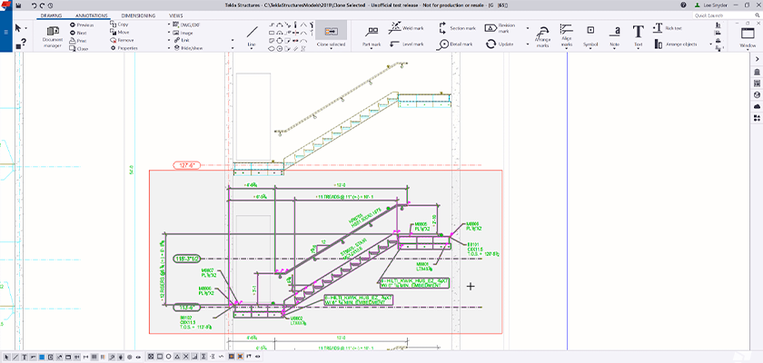 Tekla Structures drawing, concrete stair shows dimensions and annotations is highlighted ready to be cloned