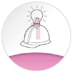 Circular infographic. Hard hat and lightbulb