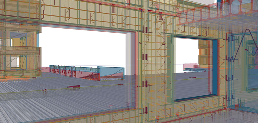 Tekla Structures model looking through two windows in precast panel onto slab. Components in rendered wireframe showing rebar