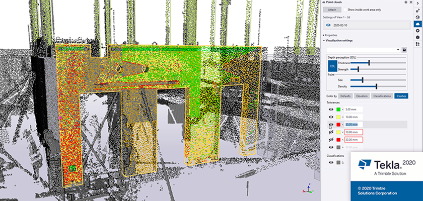Point cloud visualization showing clash checking of existing precast panel against model
