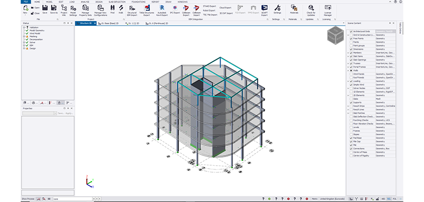 View of precast model in Tekla Structural Designer with steel structure on roof