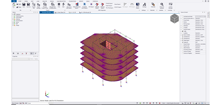 3D Tekla Structural Designer Solver view, the model shows purple Solver nodes covering precast slabs