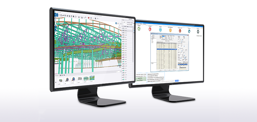 Two monitors. First shows Trimble Connect displaying model, second shows Tekla EPM, Estimating and Production Management tool
