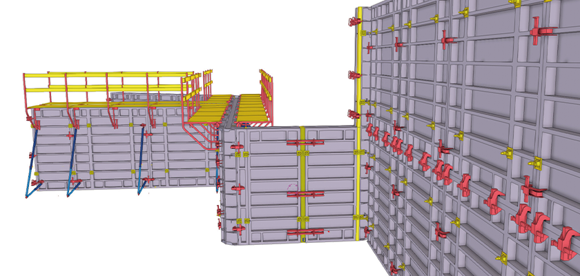 Tekla Structures 3D model of formwork, clamps, props and platforms