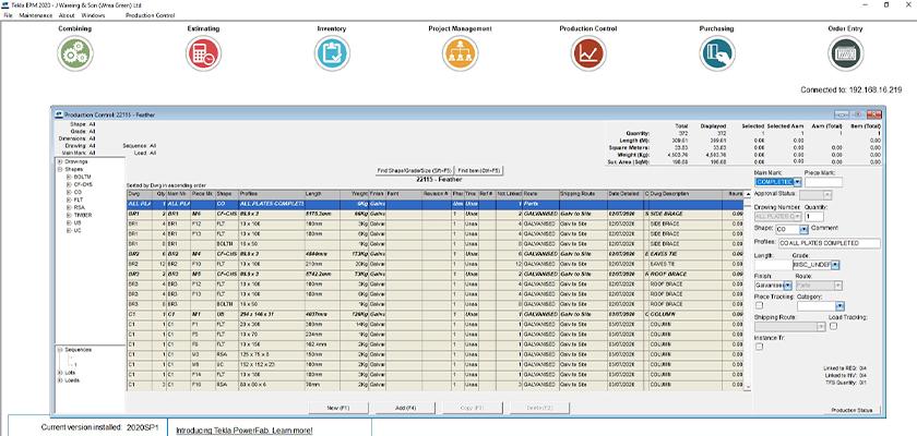 Tekla EPM screenshot showing
