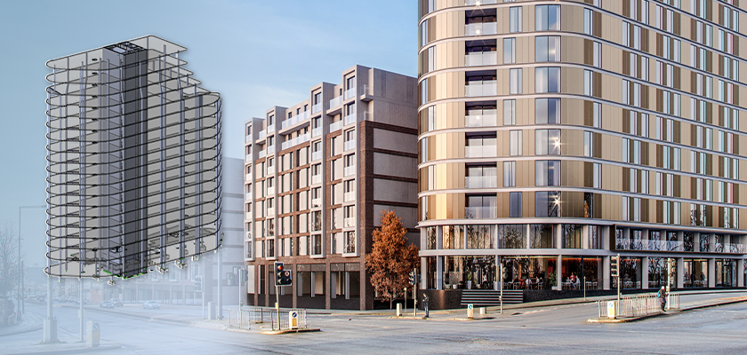 Tekla Structural Designer model superimposed onto artist impression of Parliament Square development