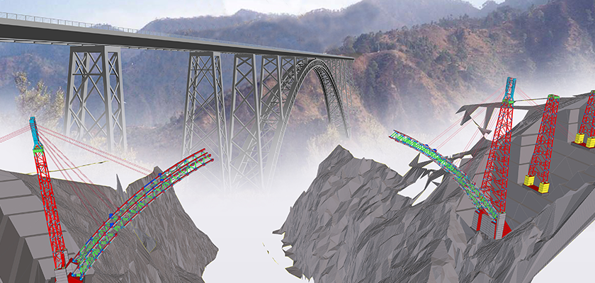 Steel bridge 320 metres above surface of river and insert showing the corresponding 3D model with point clouds