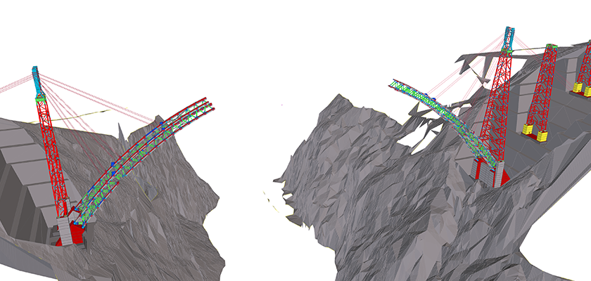 3D model of bridge on either side of canyon with gap in middle