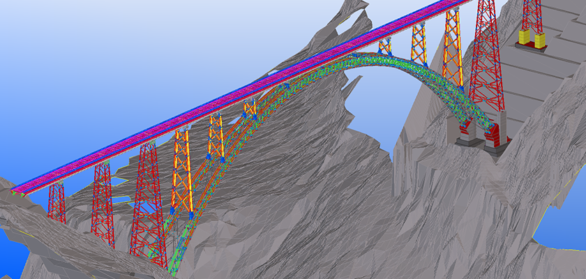 Full Tekla model spanning point cloud canyon