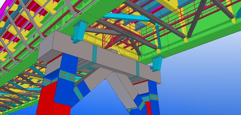 Underside of bridge model showing maintenance walkway