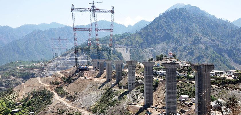 Concrete bridge piers under construction