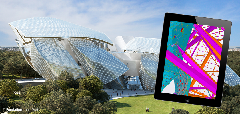 Futuristic museum Fondation Louis Vuitton and tablet showing 3D BIM model