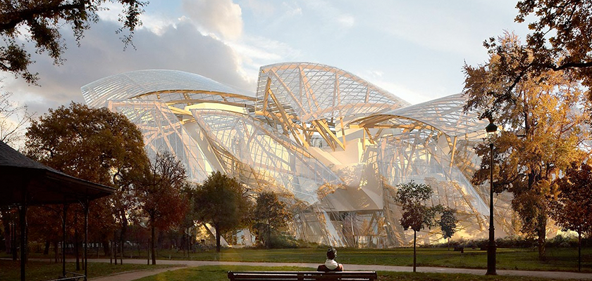 Artist impression of completed Fondation Louis Vuitton in Autumn
