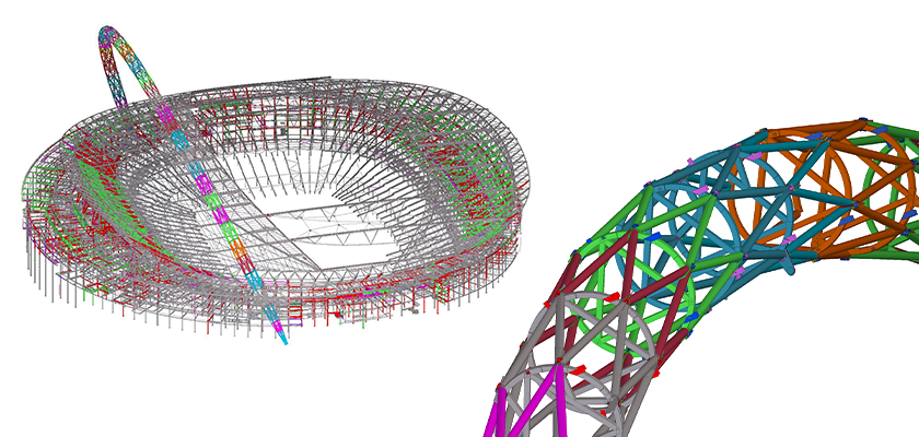 Full 3D Tekla Structures model of Wembley Stadium with close-up of arch