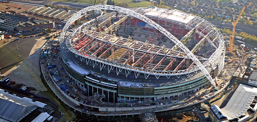 Aerial view of Wembley Stadium under construction