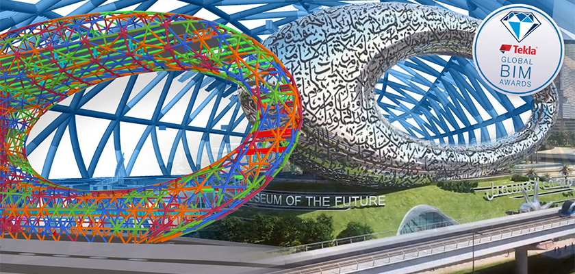 Tekla Structures model and artist's impression of Museum of the Future