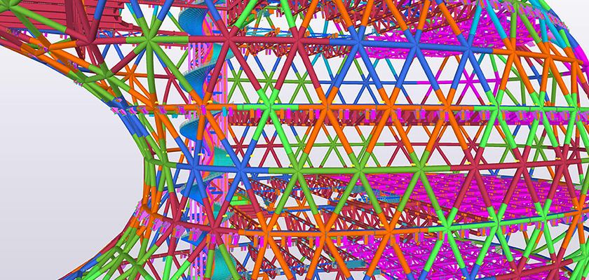 Tekla Structures model showing complex steel structure connections