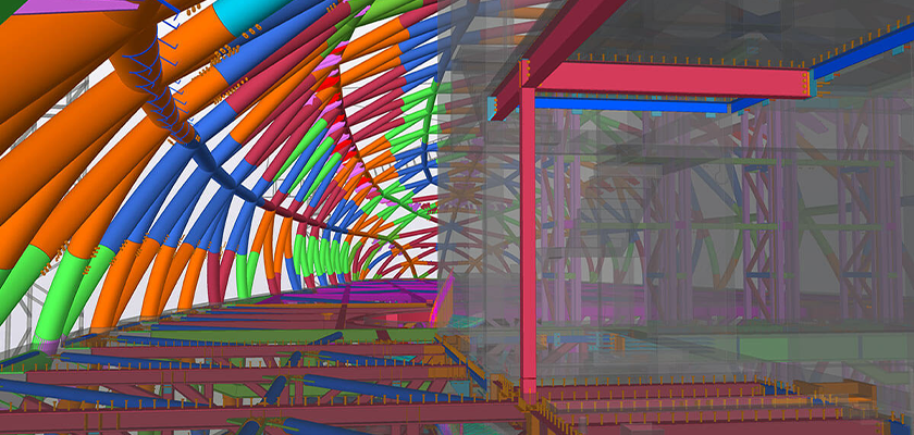 Interior view of the Tekla Structures model looking along floor with curved exterior structure above