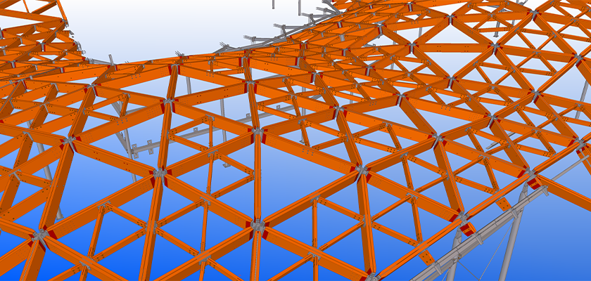 Tekla Structures model of composite timber and steel roof