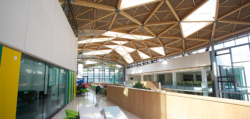 Interior view of glulam glazed roof upon completion